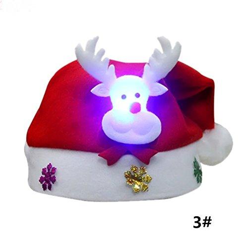 PRETYZOOM 5PCS LED Sombrero de Navidad Intermitente Luminoso Gorro de Navidad para niños Niños (Reno)