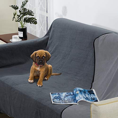 softan Wasserdichte 100 % auslaufsichere Decke für Babys, Erwachsene, Haustiere, Hunde, Katzen, pinkelfest, 3-lagiger Schutz für Bett, Sofa und Couch, Sofa, 150 x 300 cm, Anthrazit