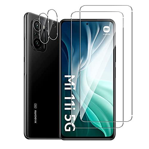 GEEMEE für Xiaomi Mi 11i 5G/Xiaomi Poco F3 Pantalla de Protector de Lente de cámara,【2 Pack + 2 Pack 】 Cristal Templado Película Vidrio Templado 9H Alta Definicion Glass Screen Protector