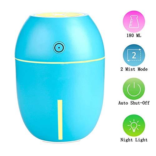 LPWCA Mini-luchtbevochtiger, 180 ml, USB-luchtbevochtiger met nachtlampje en twee sproeimodi en automatische uitschakeling voor camera's, auto, kantoor, reizen in de auto