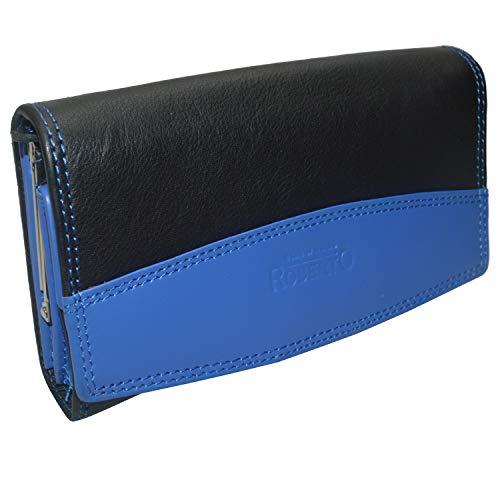 Flevado dames portefeuille zwart leer clip portemonnee Duitse kwaliteit die overtuigt.