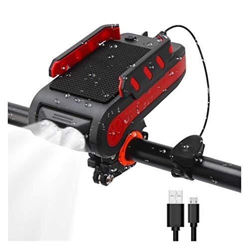 4 en 1 Faro de la bicicleta delantera USB Faro recargable de bicicleta recargable con soporte para teléfonos móviles 4000 MAH130 DB HERROS 550 LUMENS IPX4 Luces frontales a prueba de agua para todas l