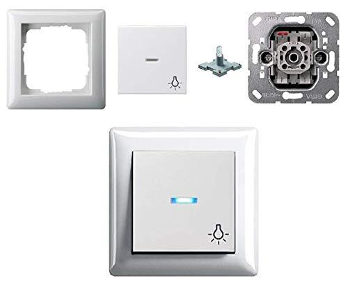 """GIRA Komplett-Set - Lichtschalter/Wippschalter / Wechselschalter An/Aus 010600, 1-fach Rahmen, Schalter blau beleuchtet (LED) Wippe Symbol """"Licht"""" - reinweiß glänzend"""