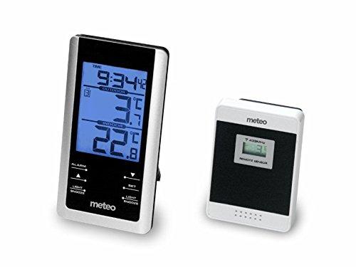 Meteo SP61 Digital Innen Außen Thermometer Uhrzeit Wecker Weckalarm Fensterthermometer Wetterstation