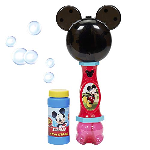 Little Kids Disney Mickey Mouse Light and Sound Musical Bubble Wand, Includes Bubble Solution