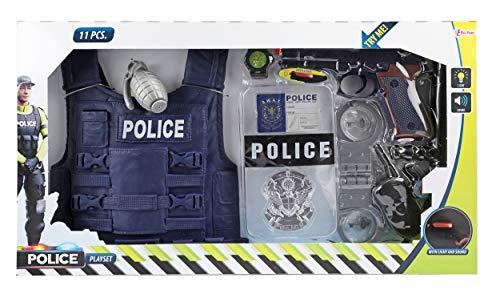 Toi-Toys 32648A - Costume da poliziotto per bambini, per giochi di ruolo, set di travestimento da polizia, con molti accessori