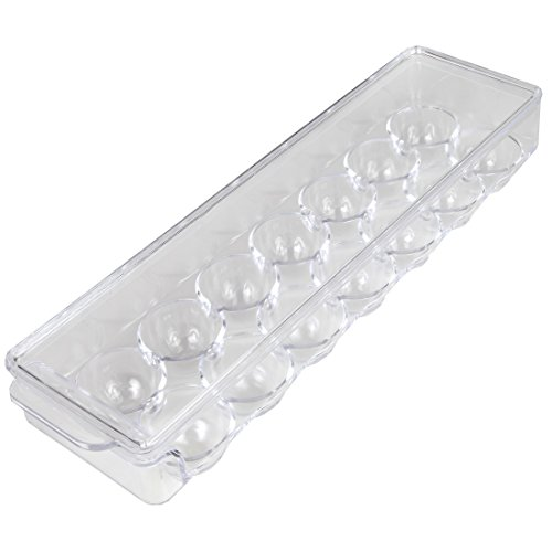 Home-X - Clear Acrylic Egg Storage Container with Lid Durable Design Protects Eggs In and Out of the Refrigerator Holds up to 14 Eggs