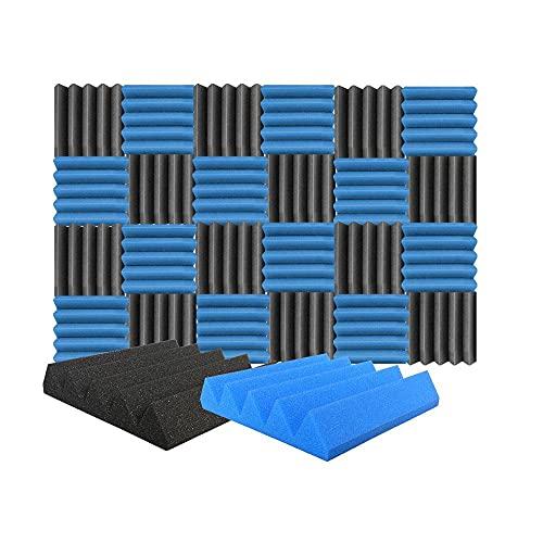 Arrowzoom 24 Polyurethane Wedge Panneaux Mousse Acoustiques 25x25x5cm Correction Phonique anti bruit Retardateur flamme studio d'enregistrement absorbant acoustique Podcasting Streaming Bleu Noir