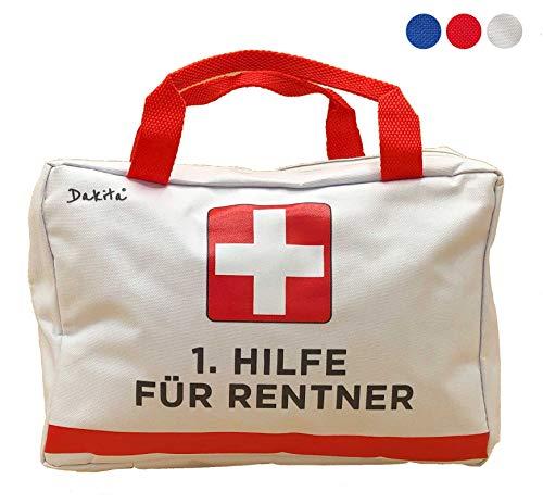 Dakita 1. Hilfe Tasche zur Rente - 28x18x8cm groß | Lustiges Rentner Geschenk zum Ruhestand Abschied für Kollegen | Ideales Abschiedsgeschenk für Rentner zum Renteneintritt (weiß, ohne Inhalt)