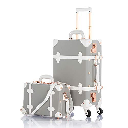 COTRUNKAGE Pu Spinner Suitcase Grey 2 Piece Vintage Trunk Luggage Set (13' & 22', Light grey)