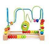 Juego de laberinto de cuentas de madera, juego de montaña rusa, juego educativo para niños en edad preescolar, para niños de 1 2 3 4 5 años, montaña rusa alrededor del círculo