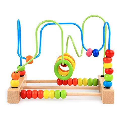 Juguete de Laberinto de Cuentas Juego de montaña Rusa Colorida de Madera para niños pequeños Roller Coaster Circle Toys Juego Educativo de Cuentas de ábaco para niños, niñas, Regalo para bebés