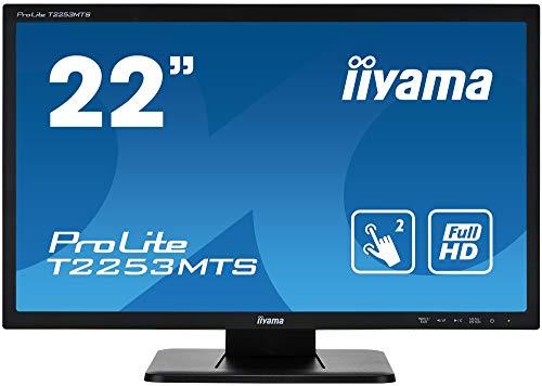 "iiyama Prolite T2253MTS-B1 54,7 cm (21,5\"") LED-Monitor Full-HD 2 Punkt Multitouch optisch (VGA, DVI, HDMI, USB) schwarz"