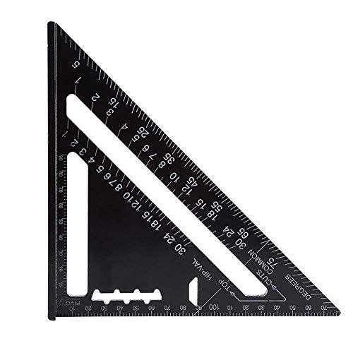 三角ルーラー 三角スケール 建築用 三角定規 トライアングル アルミニウム合金 分度器 三角スクエア測定ツール 作業用 大工用具 直角 二つパタン センチ/インチ選択可(cm目盛り)