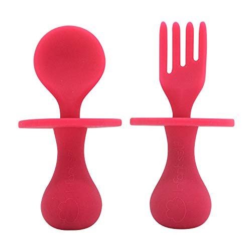 Infant self Baby Spoon First Self Feeding Spoon Fork Utensil Set for 6 12 Months Baby Led Weaning and Toddlers BPA Free (red)