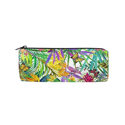 Ahomy - Estuche redondo para lápices, diseño de hojas y mariposas