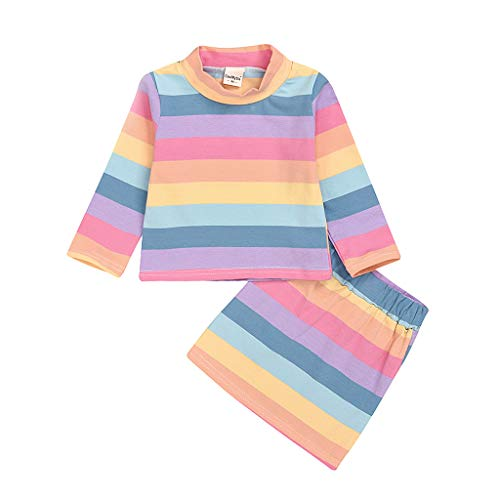 Printasaurus Outfits Clothes for 4-5 Years Boy and Girl, 2Pcs Infant Kids Baby Girls Rainbow Striped T-Shirt Tops Short Skirt Clothes Set, Girls Outfits&Set (Multicolor 4-5 Years)