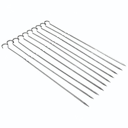 10 Pcs BBQ Skewers Stainless Steel Skewers Barbecue Cooking Sticks for Cheese Fruit Meat Poultry Seafood Vegetables