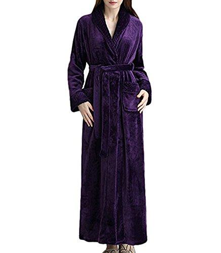 Damen Bademantel Morgenmantel Saunamantel Malibu super flauschig weich Violett