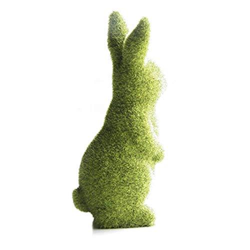 Grüner Hase aus Harz, Osterhase, beflockt, Osterhase, Ornamente, Dekoration, Haus, Garten, Außenbereich, Fenster, Dekoration für Party, Geburtstag, Geschenk