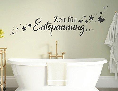 tjapalo® s-pkm 412 Wandtattoo Badzimmer Schlafzimmer Wandspruch Sprüche Zeit zur Entspannung pkm412 - in vielen Farben (B100 x H32 cm)