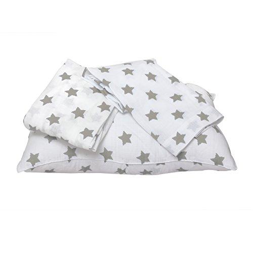 Bacati Stars Muslin 3 Piece Toddler Bedding Sheet Set, Grey