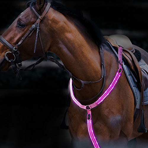 Harrison Howard LED Flashing Horse Breastplate Collar- High Visibility Tack for Horseback Riding-Superb Night Safty on Road