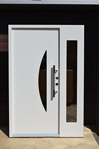 Nr.5, Design Haustür, Wohnungstür in weiß 1400x2100 mm, Innen DIN rechts, Sicherheitstüren Glaseinsatz Wohnungstür Tür Türen Moderne Haustür weiß