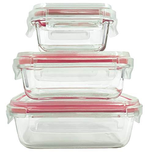 Home Fleek - Envases de Vidrio para Alimentos | 3 Recipientes + 3 Tapas | Herméticos | Sin BPA (Set 3, Rectangular Rojo)