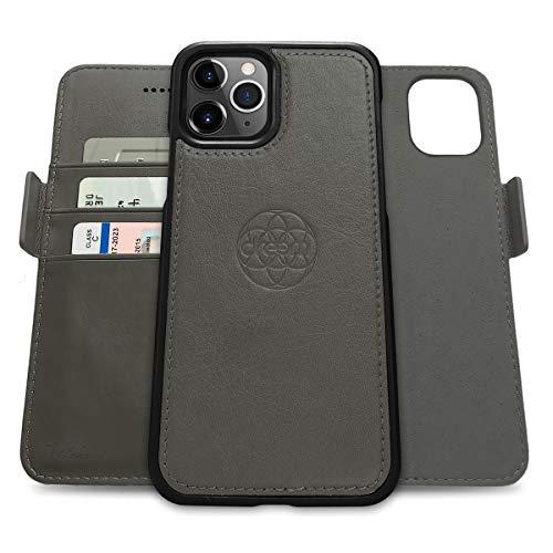 Dreem Fibonacci 2in1 Handyhülle Flipcase für iPhone 12 und 12 Pro | Magnetisches iPhone Hülle | TPU Etui Lederhülle Schutzhülle, RFID Schutz, Veganes Kunstleder, Geschenkbox | Grau