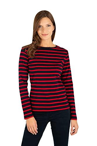 Armor Lux Damen Crozon T-Shirt, Mehrfarbig (Rich Navy/Braise Ii9), Medium (Herstellergröße: 2)