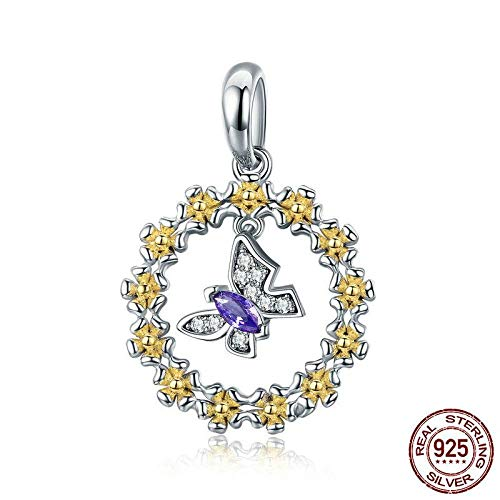 925 zilveren hanger voor dames, mode romantisch kettingloos schattig geel slinger paars zirkonia vlindervorm charme hanger voor dames sieraden accessoire verjaardag cadeau partij toegang