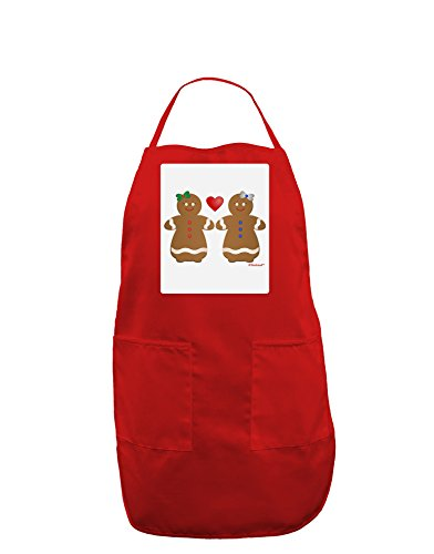 TooLoud Gingerbread Woman Couple Panel Dark Adult Apron - Red - One-Size