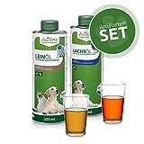 AniForte Barf-Öl Set 2 mit je 500ml Leinöl und Lachsöl für Hunde & Katzen– Naturprodukt, Ohne Zusätze, 100% rein, Barf Zusatz, Barf Öl Omega 3 & 6 Fettsäuren, Recyclebare Verpackung ohne BPA