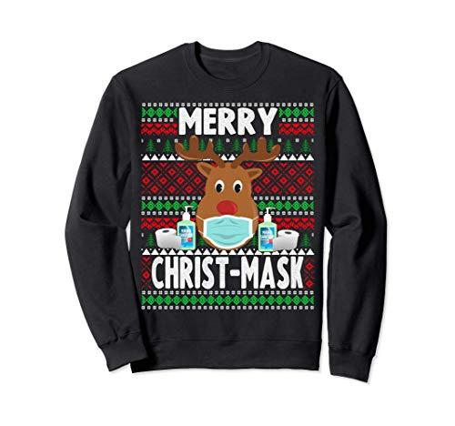 Navidad 2020 - Divertida máscara de reno de Navidad Sudadera