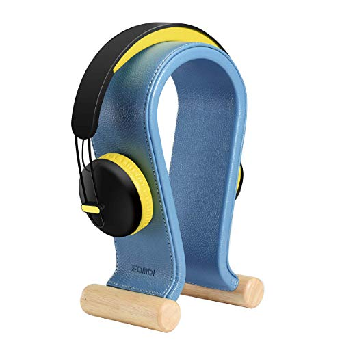 SAMDI Leather Headphone Stand Headset Stand Headphone Holder Universal Gaming Headset Holder - Cape Cod Blue Hangers Stands