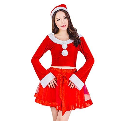 Damen Weihnachten Kleider,BBring Weihnachtsmann Cosplay Kostüm mit Hut Boot Ausschnitt Glockenärmel Tutu Crop Bauchfreies Cosplay Langarm Warm Herbst Sweatshirt Winter Bluse