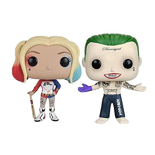 2Pcs Figuras Pop Suicide Squad The Joker # 96 Harley Quinn # 97 Figuras De Acción De Vinilo...