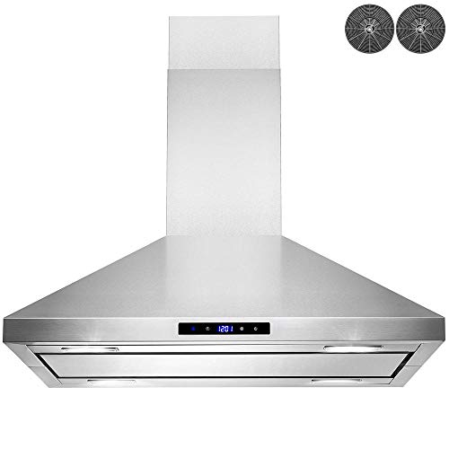 AKDY 30 in. Convertible Island Mount Kitchen Range Hood in Stainless Steel with LED Lights, Touch Control and Carbon Filters