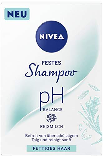 NIVEA festes Shampoo pH Balance für fettiges Haar (75 g), sanft reinigendes Festshampoo mit Kokosmilch, pH-optimiertes Shampoo mit veganer Formel