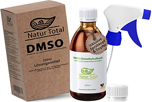 Natur Total® DMSO 250 ml I NEU: inkl. Sprühkopf und Tropfer I Dimethylsulfoxid in Braunglasflasche I 99,9% pharmazeutische Reinheit Ph. Eur. I Deutschland