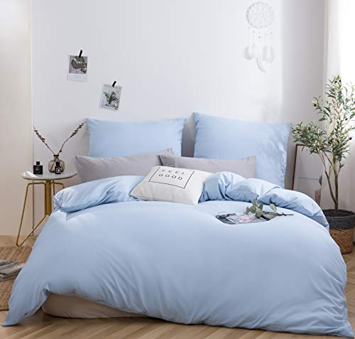 MOHAP Duvet Cover Set 3 PCS Double Plain Brushed Microfiber Bedding Duvet Cover with Pillowcases (Light Blue)
