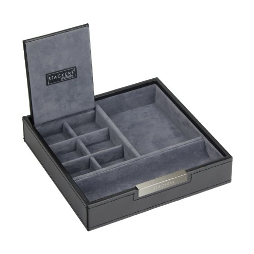 Stackers by LC Designs STACKERS - Men\'s Executive Black Square Valet  STACKER with Grey Velvet Finish Lining