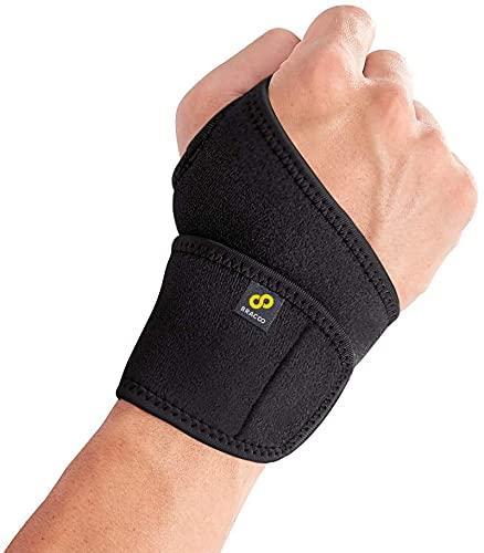BRACOO WS10 Handgelenkbandage - Handgelenkstütze für Sport und Alltag - Wrist Wrap für Damen und Herren (1Schwarz)
