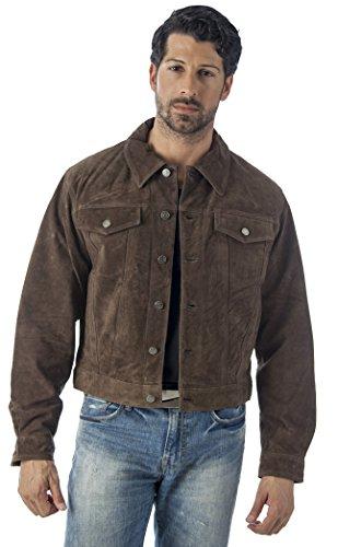 REED Wildlederjacke im westlichen Stil für Herren groß Braun
