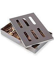 Blumtal Smoker Rookbox van roestvrij staal - gasbarbecue-accessoires of houtskoolgrill, 20x13x3,5cm, zilver, inclusief beukenhouten chips (150g)