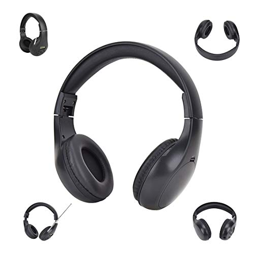 Portable Personal FM Radio Headphones with Best Reception, Wireless Radio Headset with AUX, FM Receiver for Walking Jogging Daily Works, Ear Muffs Radio for Mowing, AA Battery Powered (Black)