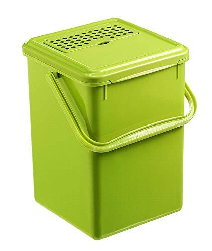 Rotho Bio Seau à Compost de 9 l avec Filtre à Charbon Actif dans le Couvercle, Plastique (PP) sans BPA, Vert, 9 l (23,0 X 22,5 X 27,5 cm)