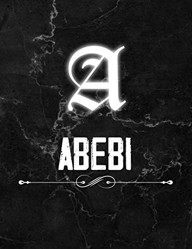 Abebi: Perfect Personalized Lined Notebook & Journal birthday gift idea with name for Abebi with Monogram Initial Capital Letter Abebi and Handmade ... Marble and White Light Neon Design (8.5x11)