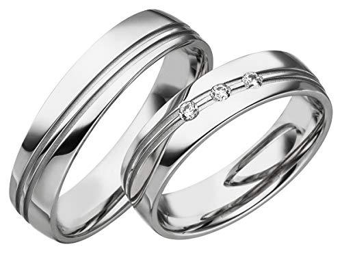 JC Eheringe Verlobungsringe Trauringe Freundschaftsringe Silber 925 Sterling * inkl. GRATIS Etui und Zirkonia Steine S065